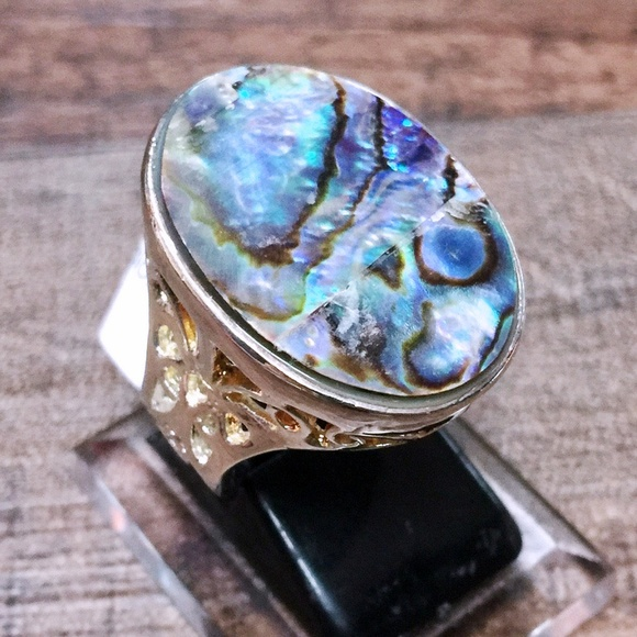 Jewelry - Abalone Shell + Sterling Silver 925 huge Statement